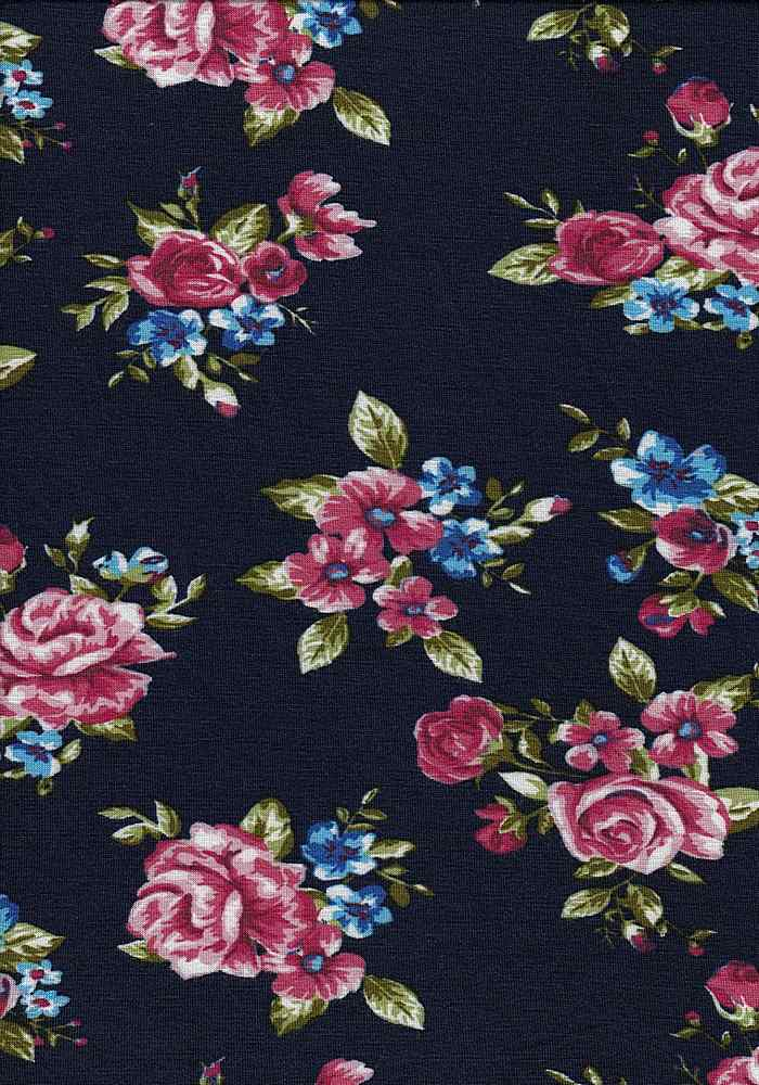 AET1697-607I/23NAVY/PINK/OLIVE / Rayon/Span Jersey W/Romantic Rose Flower Design,