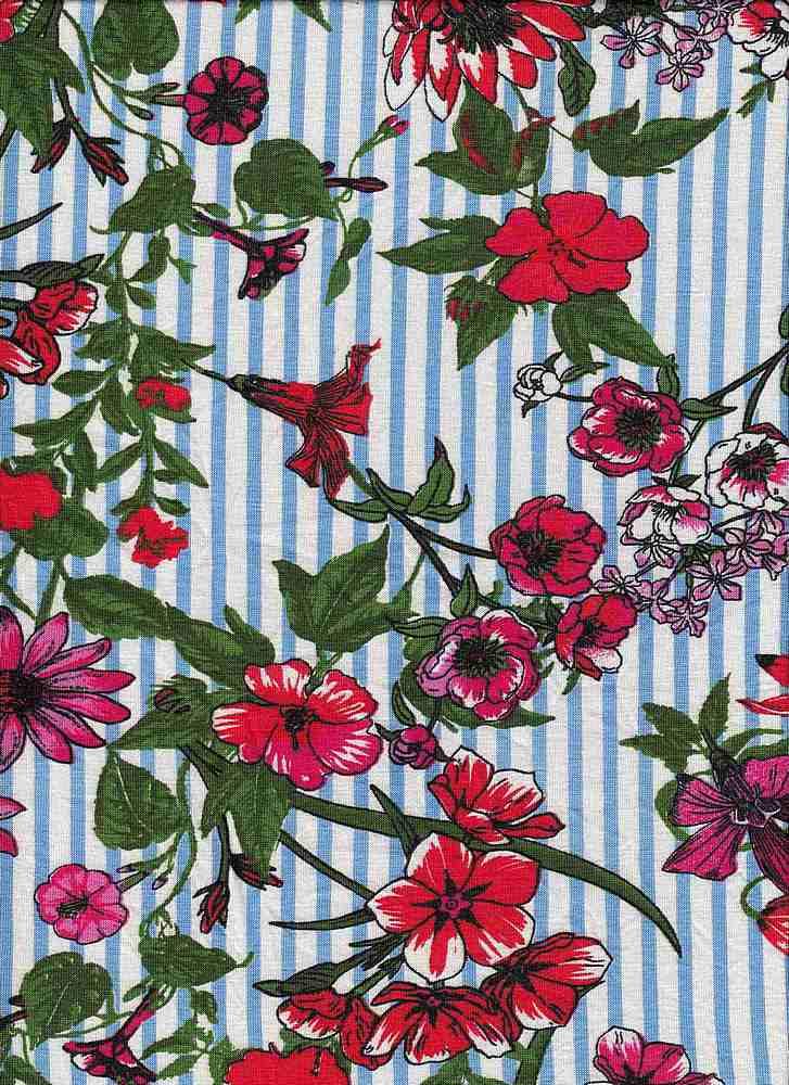 ICA1723-160-607/4IVORY/BLUESKY/FUCHSIA / R/S Jersey W/Printd Stripe & Orchid Flower Design,