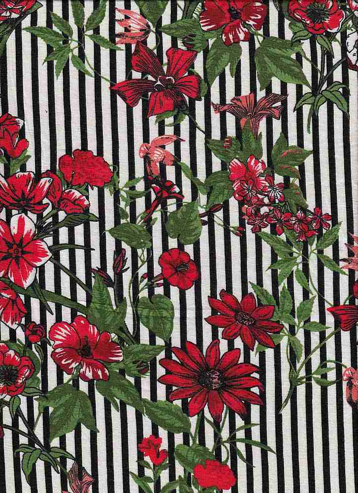 ICA1723-160-607/3IVORY/BLACK/RED / R/S Jersey W/Printd Stripe & Orchid Flower Design,
