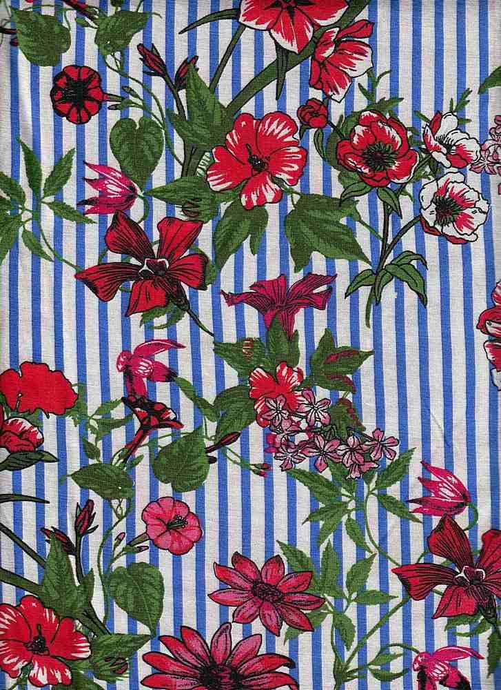 ICA1723-160-607/5IVORY/BLUEDENIM/RED / R/S Jersey W/Printd Stripe & Orchid Flower Design,