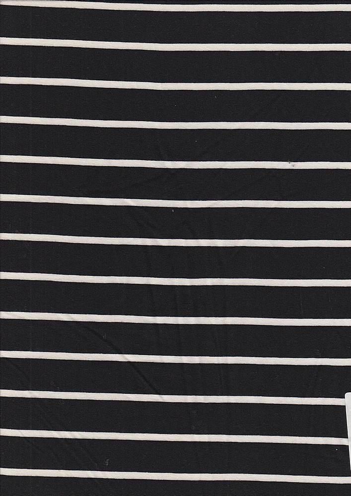 6616-792BR-I/BLACK/IVORY / Brushed DTY W/PTD Thick & Thin Horizontal Stripe,