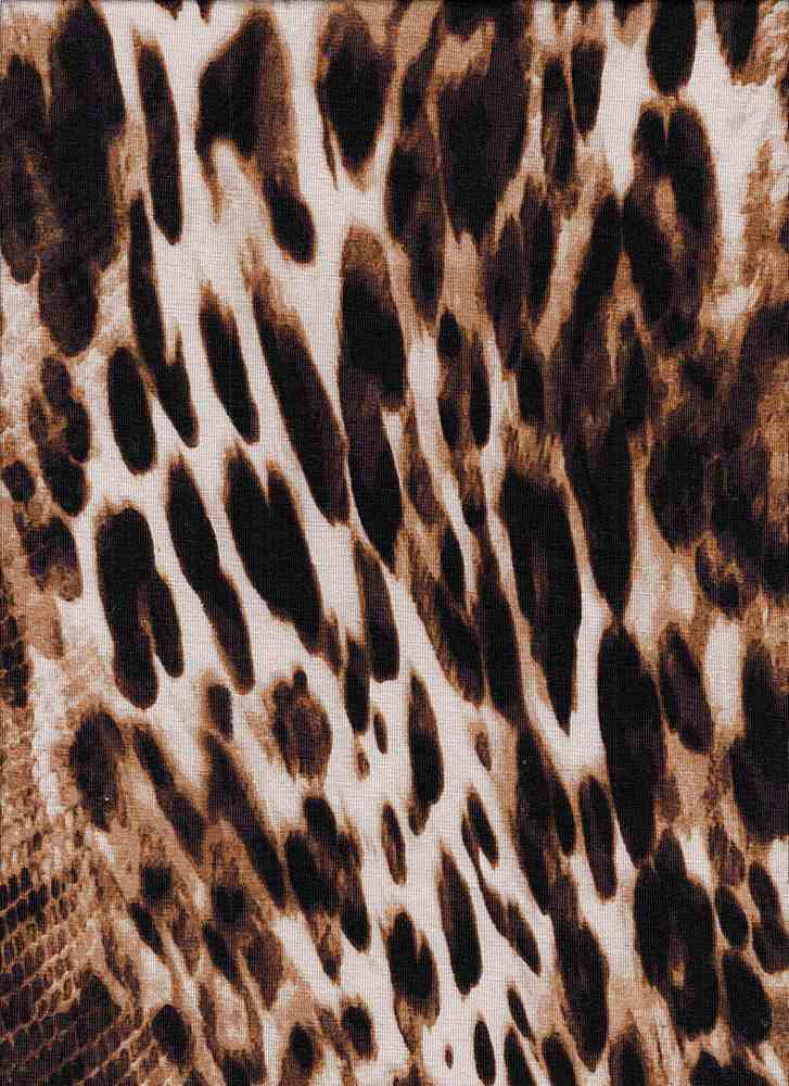 43565-607I/01BROWN / RAYON SPAN JERSEY W/ANIMAL PRINT