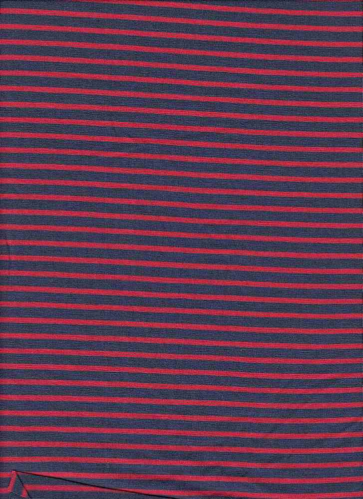 JRZ-1574-607/DENIM/CORAL / Rayon/Span 5/16 X 2/16-Inch Stripe Jersey,