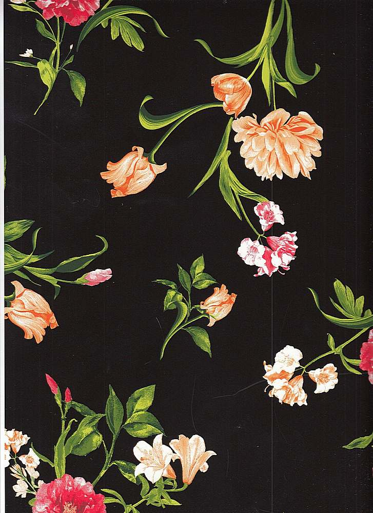 A209330-792BR-I/02BLK/ORNG/RED / Brushed DTY W/Hibiscus & Tulip Flower Design,