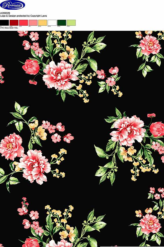 A209329-792BR-I/02BLK/RED/YEL / BRUSHED DTY W/ HIBISCUS FLOWER PRINT