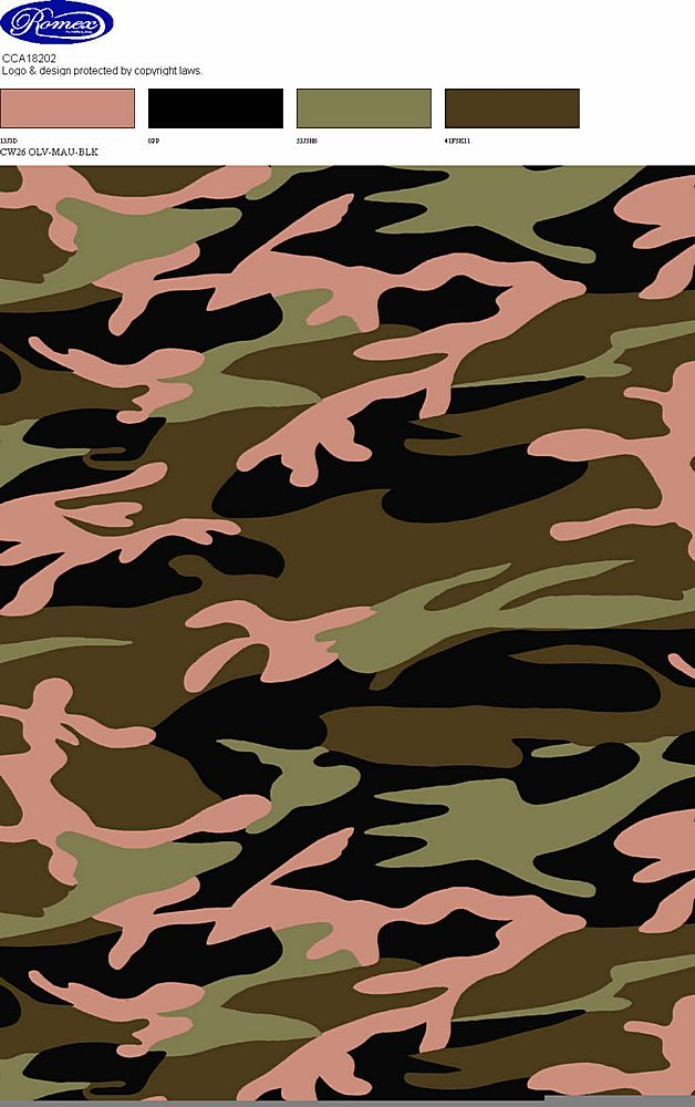 CC18202-2792I/26OLIVE/MAUVE/BLACK / Brushed DTY 4x2 RIB W/Camouflage Print Design,