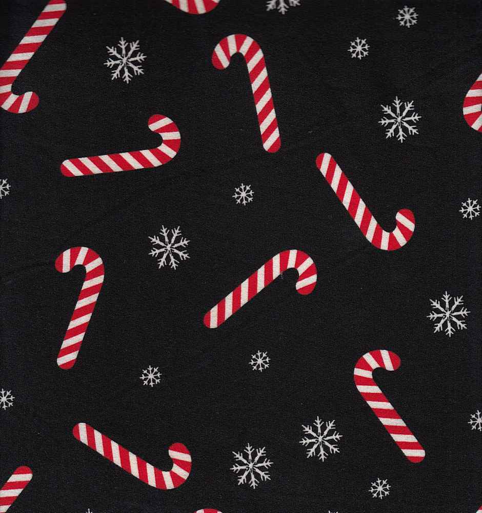 G209474-792BR-I/02BLACK/IVORY/RED / PS Brushed Dty With Holiday Candy Cane Print