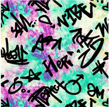 "A219622-792BR-I/02MINT/BLK/PINK / Brushed DTY W/Tiedye & ""Vibe"" Graffiti Design,"
