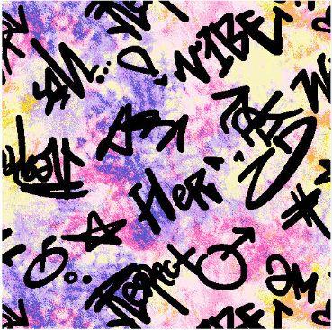 "A219622-792BR-I/03PURPLE/BLK/PINK / Brushed DTY W/Tiedye & ""Vibe"" Graffiti Design,"