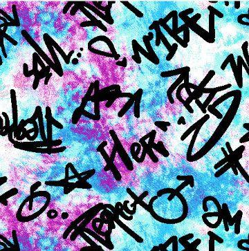 "A219622-792BR-I/06SKY/BLK/MAGENTA / Brushed DTY W/Tiedye & ""Vibe"" Graffiti Design,"