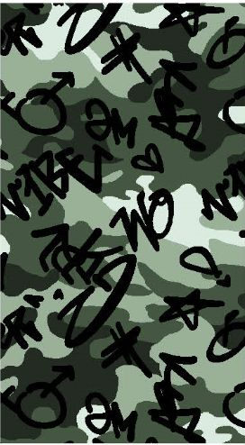 A219629-792BR-I/06GREEN/BLK/OLIVE / Brushed DTY W/Camou & Graffitti Design,