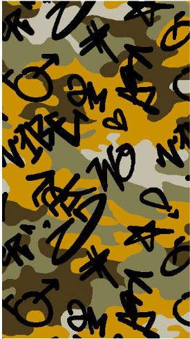 A219629-792BR-I/08MUSTARD/BLK/SAGE / Brushed DTY W/Camou & Graffitti Design,