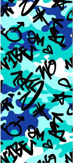 A219629-792BR-I/09AQUA/BLK/BLUE / Brushed DTY W/Camou & Graffitti Design,