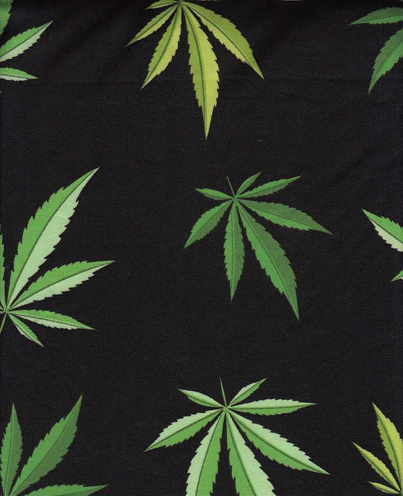 B219658-792BR-I/01BLACK/GREEN / Brushed DTY W/Cannabis Conversational Design,