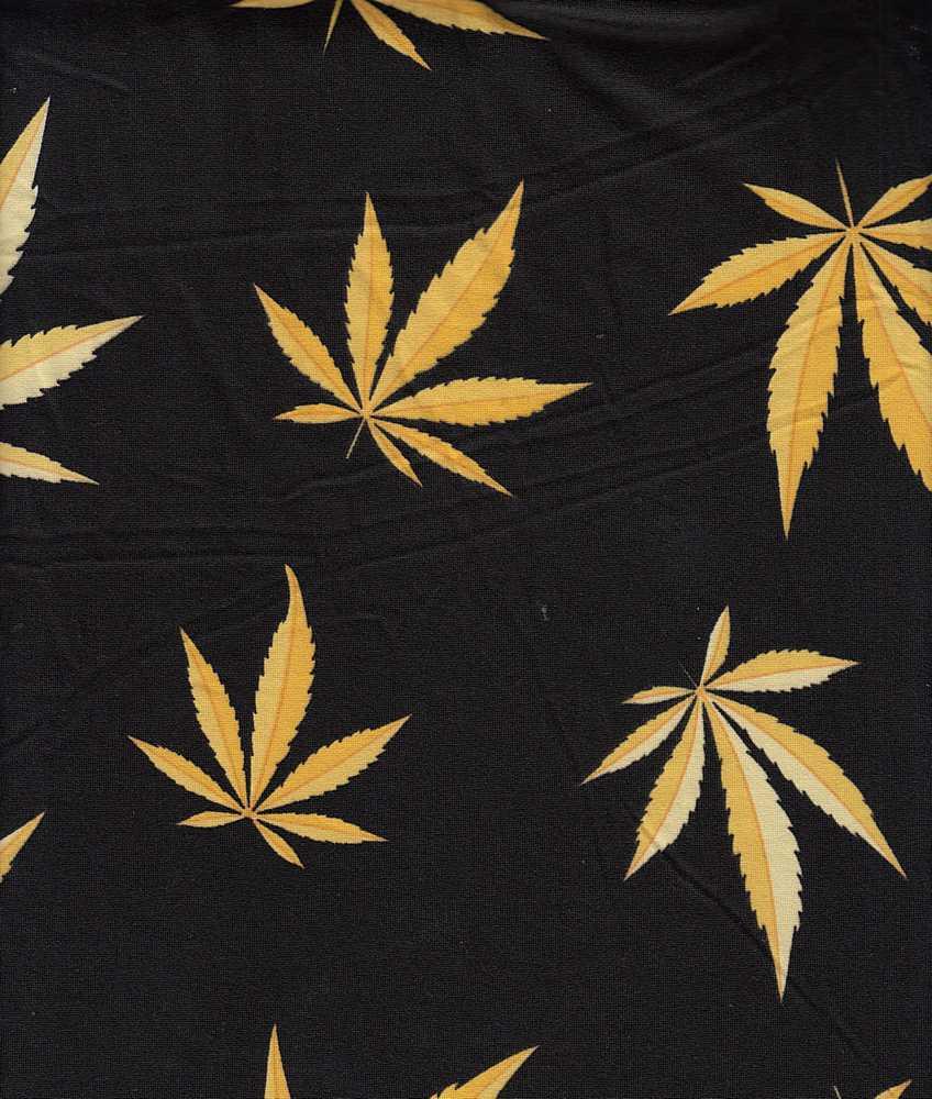 B219658-792BR-I/03BLACK/GOLD / Brushed DTY W/Cannabis Conversational Design,